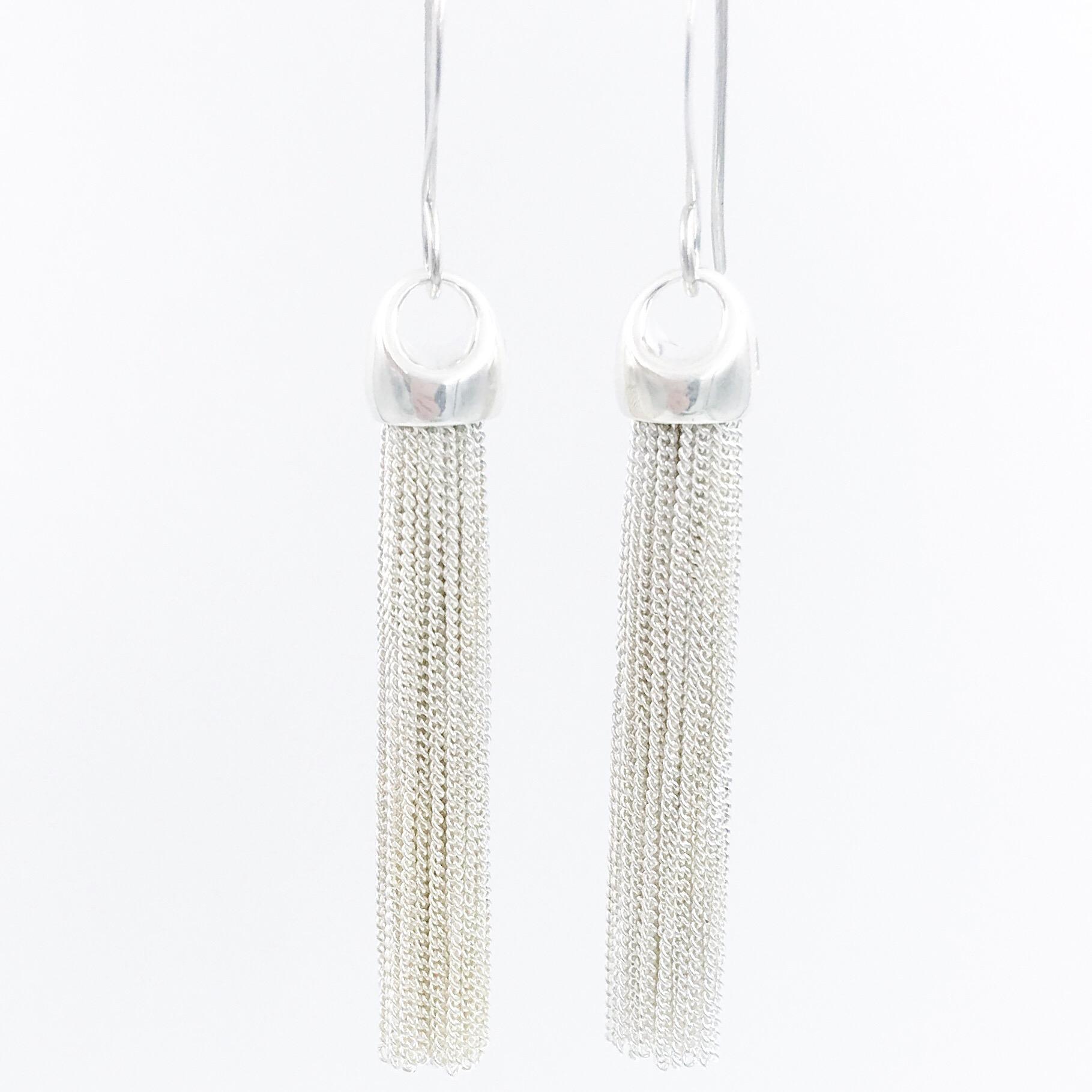 7a177d8f79b3e1 Sterling Silver Tassel Earrings | Oie Jewelry | Style that ...