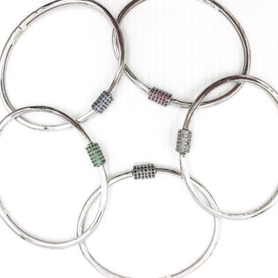 sterling silver bangle bracelets with gemstone closures