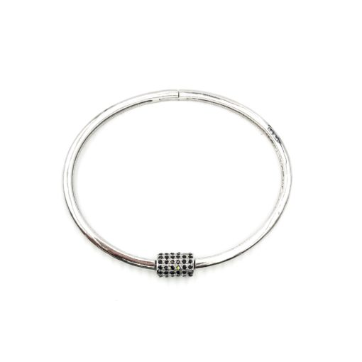 sterling silver bangle bracelet with an onyx encrusted screw clasp