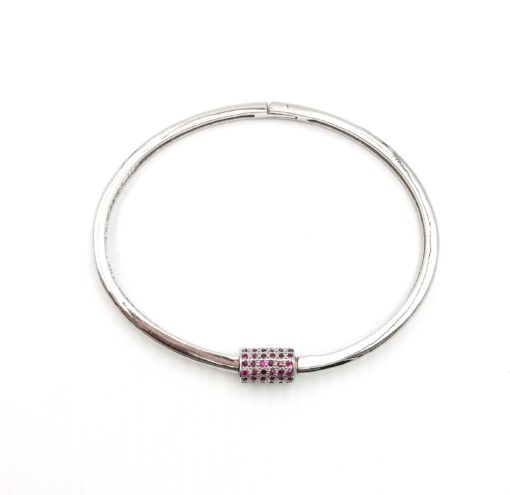 sterling silver bangle bracelet with a ruby encrusted screw clasp