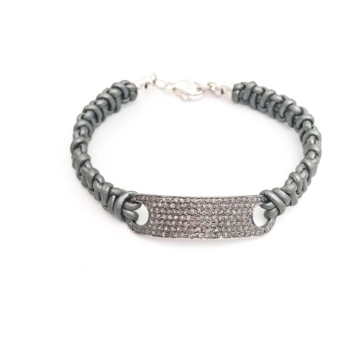 a diamond ID bracelet with leather and a diamond plate