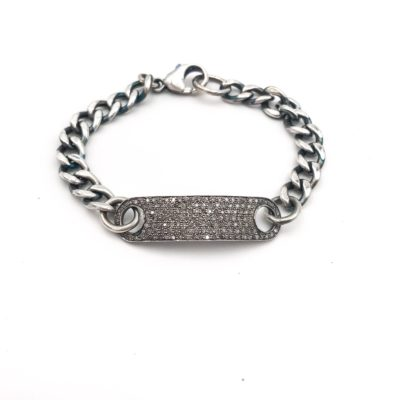 diamond and sterling silver ID bracelet, with a diamond plate