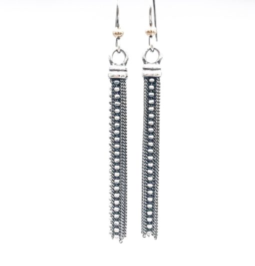 various sterling silver chains make up these tassel earrings