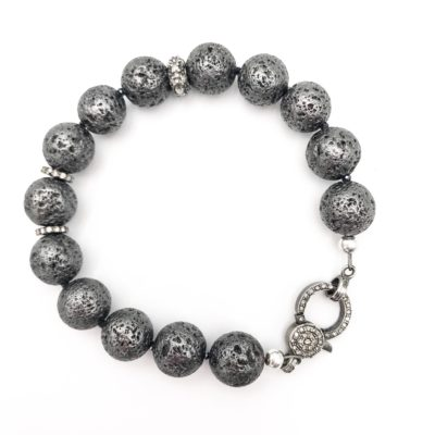 silver-charcoal colored titanium coated lava rock bracelet with diamonds and a diamond clasp