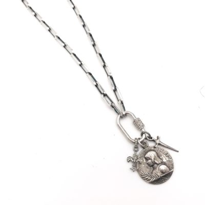 a heavy sterling silver chain, diamond and sterling silver lock with an antique French Joan of arc medal, diamond fleur de lis and sterling silver sword